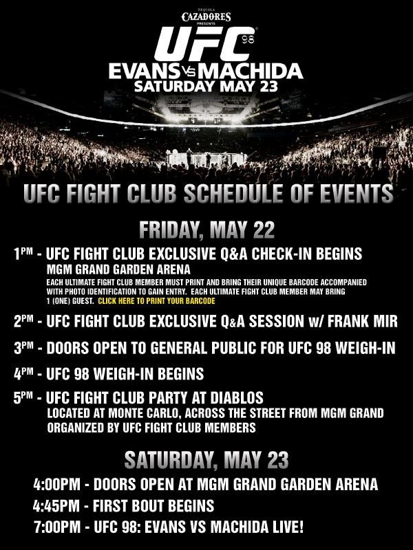 UFC 98 Schedule of Events